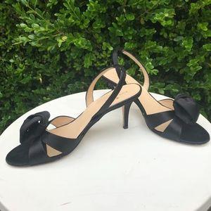 Kate Spade New York sling back black satin heels